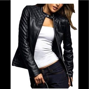 👟 Decrum Real leather black moto jacket NWT